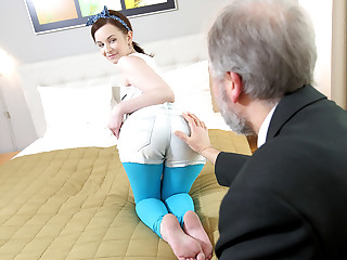 This old goes young guy admired Lenka's ass before licking her pussy and fucking her